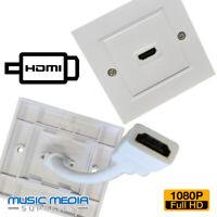 HDMI Single Face plate Wall Socket 1 HDMI socket + rear easy hook up lead