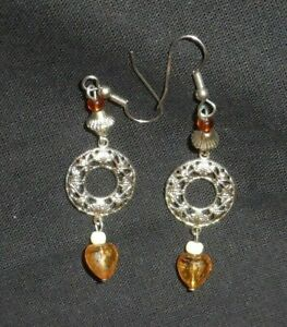 Pretty silver dangle yellow bead fish hook earrings