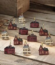 SIMPLIFY PRIMITIVE COUNTRY RUSTIC HOUSES SHOWER CURTAIN HOOKS ~SET OF12~NIP