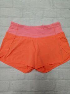Lululemon Womens yoga gym running 'Speed Up' shorts 3 in Orange Size 4
