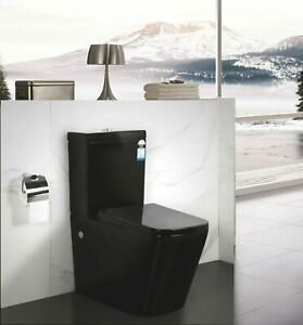 New Bathroom Ceramic Toilet Suite Cistern Black Seat Wall Faced Soft Close Flush