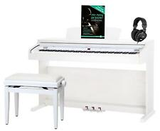 88 KEYS DIGITAL ELECTRIC PIANO KEYBOARD 16 SOUNDS USB BENCH HEADPHONES SET WHITE