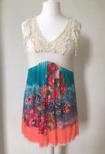 Yumi 12 Mini Dress Tunic Mexican Crochet Beach Funky Bright Sleeveless Holiday