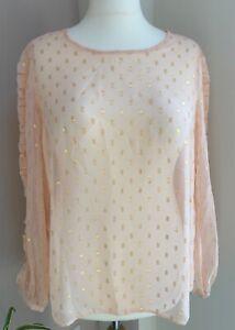 Anthology Size 18 Peach & Gold Foil Ruffle Sleeve Blouse BNWT