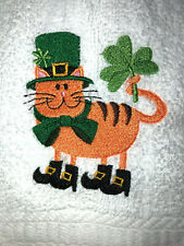 Embroidered Bathroom Hand Towel Orange Cat St Patrick's Day Theme Shamrock Boots