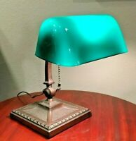 Original Amronlite Adjustable Library Student Desk Lamp Green White Cased Shade