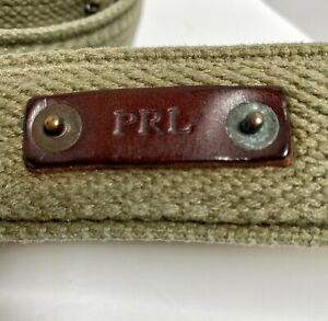 Polo Ralph Lauren Vintage Braided Leather Buckles RL Plaque Army Olive Belt 2XL