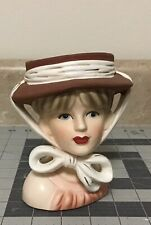 Vintage Lady Head Vase With Tied Hat  Beautiful