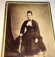 Antique Victorian American Fashion Woman, Full Standing Portrait! Old CDV Photo!