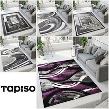 Teppich Modern Kurzflor Grau Violett Wellen Muster Wohnzimmer Schlafzimmer