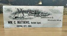 Antique 1910's Michigan Fire & Marine Insurance Co Detriot Advertising Nautical