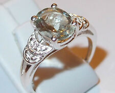 Green Amethyst and Simulated Diamond (1.70ct) Sterling Silver ring, Size M.