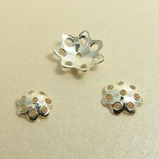 10 x 925 STERLING SILVER Filigree FLOWER Spacer BEAD CAPS Findings 5/ 6/ 8MM