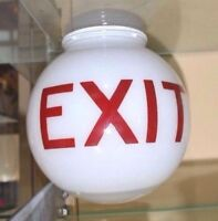 Vintage WHITE Glassware Theater FIRE EXIT GLASS GLOBE Art Deco RETRO 3.25 Fitter