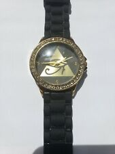 Silicon Watch Black with Gold Accents with Pyramid on Face Rhinestones