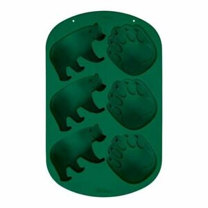Wilton 6 cavity Silicone Camping Adventurer Bear Paw Treat Mold Green