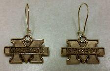 10K Yellow Gold Marshall University Dangle Earings