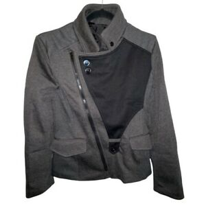 Thelees Homme Asymmetrical Moto Biker Fabric Jacket Black Men's Size M Medium