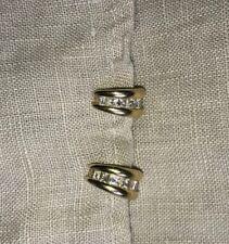 14k Gold Princess Cut Diamond Omega Back Hoop Earrings .75 Cts