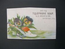VTG Victorian Trade Card Telephone Soap G.A. Shoudy Rockford IL Illinois Shoe 14