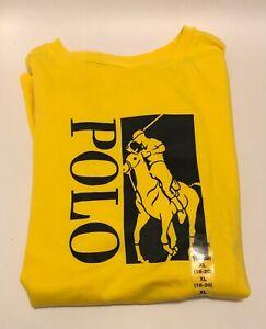 NWT Polo Ralph Lauren Big Boys Kids Cotton Jersey Graphic Tee Yellow Size XL