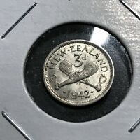 1942 NEW ZEALAND  3 PENCE BRILLIANT UNCIRCULATED BEAUTIFUL COIN