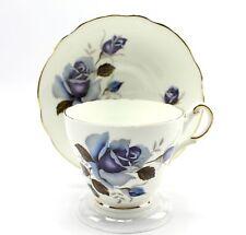 Vintage Regency Blue Rose Scalloped Teacup & Saucer Bone China England