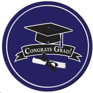 Graduation School Colors Purple 9 Inch Paper Plates 18 Per Pack Purple Grad