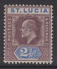 ST.LUCIA SG60 1902 2½d DULL PURPLE & ULTRAMAIRNE MTD MINT
