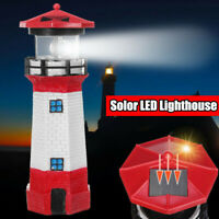 LED Solar Powered RED Lighthouse Statue Rotating Garden Yard Patio Outdoor Decor
