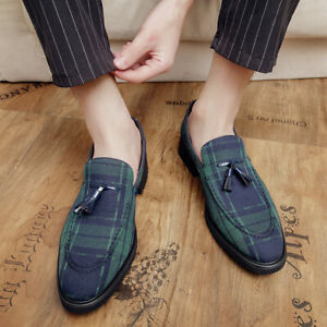 British Men Dress Work Shoes Oxfords Tassel Slip On Casual Loafers Wedding Party
