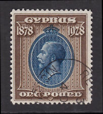 Cyprus. SG 132, £1 blue & bistre brown. Very fine used.