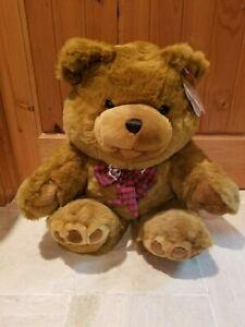 """30"""" VINTAGE CUDDLE WIT BROWN TEDDY BEAR PLUSH TOY SOFT CUDDLY TREASURE W/ BOW"""
