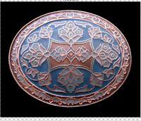 Copper Tone Western Flower Metal Blue Belt Buckle Boucle de Ceinture