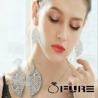 Women's Fashion 925 Sterling Silver Plated Hollow Leaf Filigree Drop Earrings