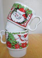 Vtg Santa Christmas Mug  Set of 2 Angels Stockings Poinsettia Sy Japan Stacking