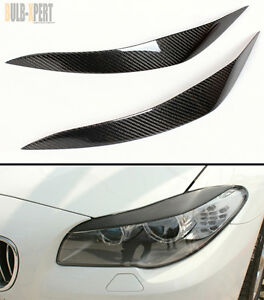 REAL CARBON FIBER HEADLIGHT EYE LID COVER PAIR FOR 2011-2016 BMW F10 5 SERIES M5