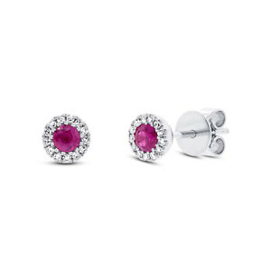 Ruby Diamond Stud Earrings 14K White Gold Natural Round Cut Halo Solitaire .36CT
