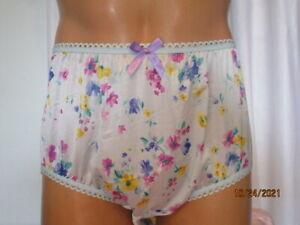 Light Blue Floral Handmade Nylon Tricot Silky Brief Sissy Panties For Men  sz 38