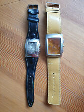 2 Diesel Time Armbanduhren mit Echtleder Band, Batterien jedoch leer