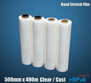 Stretch Film CLEAR Hand 500mm x 25UM Pallet Carton Shrink Wrap x4