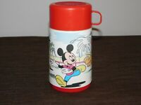 "VINTAGE 6 1/2"" HIGH ALADDIN DISNEY MICKEY MOUSE PLUTO PLASTIC THERMOS"