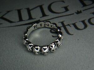New King Baby Studio Size 8 Sterling Silver 925 Infinity Skulls Ring 6 Grams