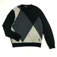 Express Mens Sweater Large Merino Wool Black Gray Geo Diamond Crew Neck Thin