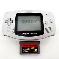 Nintendo Game Boy Advance Platinum Silver Handheld AGB-001 w/ Donkey Kong Tested