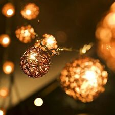 5m 20 Brown Coffee Sepak Takraw Rattan Ball LED String Fairy Party Outdoor Light