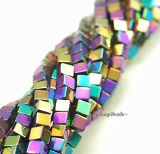6MM TITANIUM HEMATITE GEMSTONE RAINBOW SQUARE CUBE 6X6MM LOOSE BEADS 15.5""