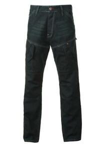Mens dark straight leg cotton utility cargo pocket distressed jeans workwear