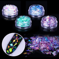 2X Fluorescent Glass Paper Nail Flakes Irregular Paillette Sequins  Tips