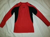 Under Armour HeatGear Red & Black Long Sleeve Shirt Youth size Large 00014